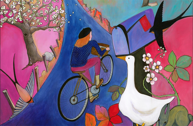 Alison Johnston Artwork of woman on bicycle on the San Juan Islands