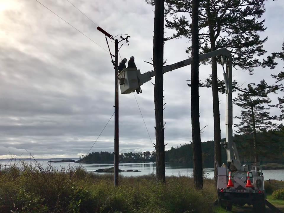 bucket truck on lopez island